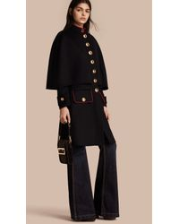 Burberry Military Detail Wool Cashmere Cape Coat in Black | Lyst