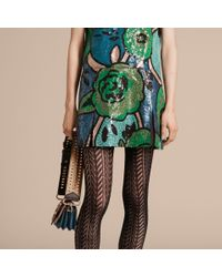 Burberry - Blue Hand-embroidered Sequin T-shirt Dress Bright Green - Lyst