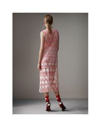 Burberry - Pink Sleeveless Chantilly Lace Embroidered Tulle Dress - Lyst