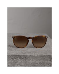 Burberry - Check Detail Round Frame Sunglasses In Light Brown | for Men - Lyst