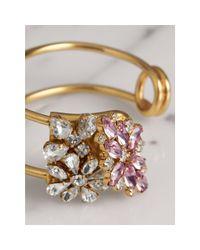 Burberry - Multicolor Crystal Daisy Brass Cuff - Lyst