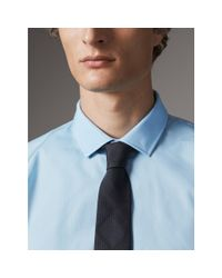 Burberry - Modern Fit Gingham Cotton Poplin Shirt City Blue for Men - Lyst