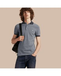 161efb932f632 Lyst - Burberry Contrast Trim Cotton Piqué Polo Shirt in Gray for Men