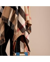 Burberry - Multicolor Check Cashmere And Wool Poncho - Lyst