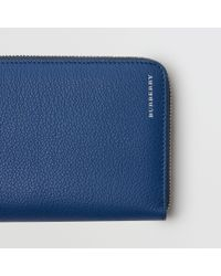 Burberry - Blue Grainy Leather Ziparound Wallet for Men - Lyst