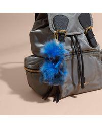 Burberry - Blue Thomas Bear Pom-pom Charm In Check Cashmere - Lyst