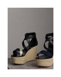 Burberry - Blue Leather And House Check Platform Espadrille Wedge Sandals Navy - Lyst