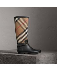 Burberry - Multicolor Belt Detail Check And Rubber Rain Boots House Check/black - Lyst
