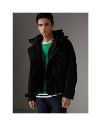 Burberry Black Showerproof Nylon Jacket With Gilet for men
