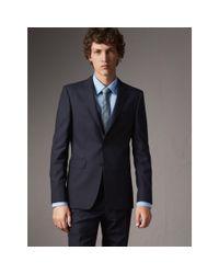 Burberry - Blue Slim Fit Wool Part-canvas Suit Navy for Men - Lyst