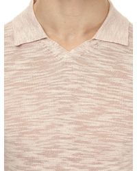 Burton - Pink Open Collar Fine Knitted Polo Shirt for Men - Lyst