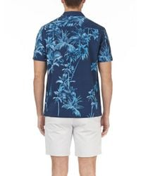 Burton Blue Short Sleeve Paradise Palm Print Shirt for men