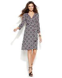 INC International Concepts | Multicolor Geo-Print Faux-Wrap Dress | Lyst
