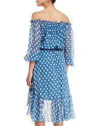 Diane von Furstenberg | Blue Camila Dotted Batik Off-the-shoulder Dress | Lyst