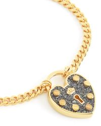 Juicy Couture | Metallic Pave Heart Padlock Wish Bracelet | Lyst