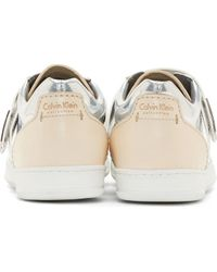 Calvin Klein - Metallic Silver And Nude Leather Low_top Sneakers for Men - Lyst