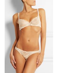L'Agent by Agent Provocateur - Natural Mirabel Lace And Swiss-Dot Stretch-Tulle Briefs - Lyst