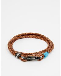 Ted Baker - Brown Bracelet Plaited Leather Wrap for Men - Lyst