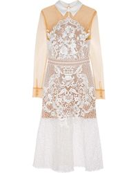 Self-Portrait - White Tulle And Guipure Lace Dress - Lyst