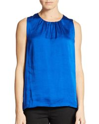 Chaus | Blue Satiny Gathered Neck Top | Lyst