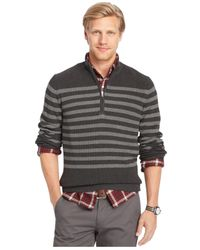 Izod | Gray Stripe Mockneck Quarter-zip Sweater for Men | Lyst
