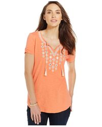 Style & Co. | Orange Petite Embellished Peasant Top | Lyst