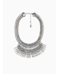 Violeta by Mango | Metallic Crystal Chain Necklace | Lyst