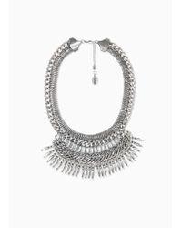 Violeta by Mango - Metallic Crystal Chain Necklace - Lyst