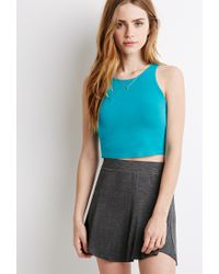 Forever 21 - Blue Racerfront Crop Top - Lyst