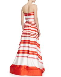 Alice + Olivia - Orange Aubrey Striped Strapless Ballgown - Lyst