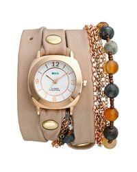 La Mer Collections - Natural 'brazil Beach Stones' Leather & Chain Wrap Bracelet Watch - Lyst