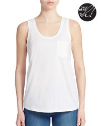 Lord & Taylor | White Petite Cotton Pocket Tank Top | Lyst