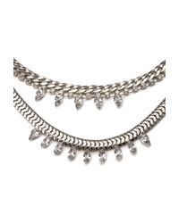 Forever 21 | Metallic Rhinestone Layered Necklace | Lyst