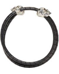 Alexander McQueen - Black & Silver Leather Double Skull Bracelet for Men - Lyst