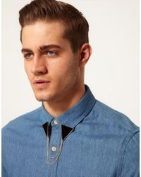 ASOS - Metallic Triangle Collar Tips with Chain for Men - Lyst