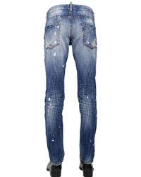 DSquared² - Blue 18Cm Slim Fit Snow Wash Denim Jeans for Men - Lyst