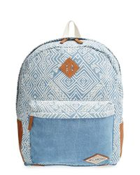 Billabong - Blue 'hidden Trek' Geo Print Canvas Backpack - Lyst
