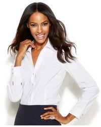 INC International Concepts - White Rhinestone-Button Dress Shirt - Lyst