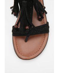 Urban Outfitters - Black T-Strap Tassel Sandal - Lyst