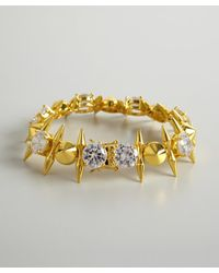 Noir Jewelry | Metallic Gold And Crystal Spike Bracelet | Lyst