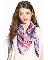 Echo - Marbled Print Silk Square Scarf - Purple - Lyst