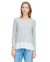 Rebecca Taylor | Gray Long Sleeve Terry Pleat Top | Lyst