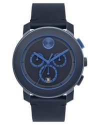 Movado - Black 'bold' Chronograph Leather Strap Watch for Men - Lyst
