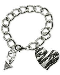Guess | Metallic Silver-tone Black Stone Stripe Heart Charm Bracelet | Lyst