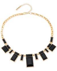 T Tahari | Metallic Rectangular Stone And Crystal Frontal Necklace | Lyst