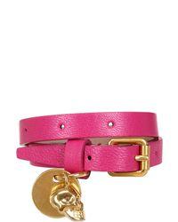Alexander McQueen | Pink Skull Charm Leather Bracelet | Lyst