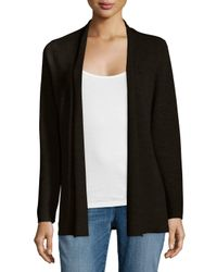 Eileen Fisher - Black Merino Rib-mix Shaped Cardigan - Lyst