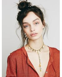 Free People - Metallic Womens Dew Drop Necklace - Lyst