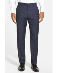 HUGO - Blue 'hamen' Flat Front Solid Wool Trousers for Men - Lyst
