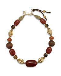Lauren by Ralph Lauren - Metallic Gold Tone Brown Chunky Bead Collar Necklace - Lyst
